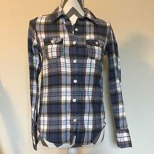Flannel Button Up Blue ROXY Long Sleeve XS Shirt
