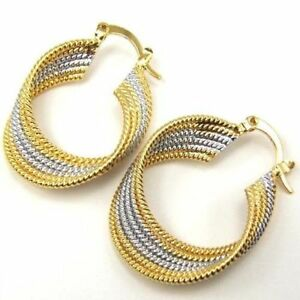 "Pretty New Yellow & White Gold Plated Two-Tone Ribbed 1.5"" Twisted Hoop Earrings"
