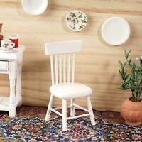 1:12 Puppenhaus Mini Möbel Holzstuhl Weiß für Puppenhaus Dekor Spielzeug Y9B8