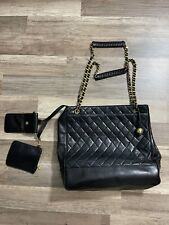 Authentic CHANEL Quilted Chain Tote Shoulder Bag Leather Black Gold Italy Pocket