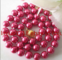 """Natural 8mm Rose Red South Sea Shell Pearl Round Gemstone Necklaces 18"""" AAA"""