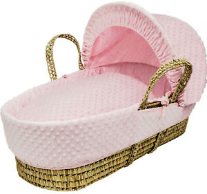 Palm Wicker Baby Moses Basket PINK Dimple Padded Basket & Deluxe Bedding