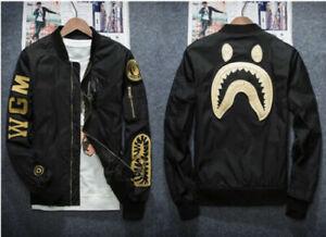 NEW Men's BAPE Bomber Jacket A Bathing Ape Shark Head Embroidery Zipper Coat