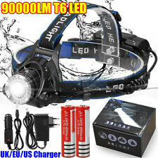 90000LM T6 LED Rechargeable Head Torch Light Headlamp Flashlight Lamp Waterproof