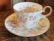 ROYAL PATRICIAN BONE CHINA, STAFFORDSHIRE TEA CUP AND SAUCER, PINK FLOWERS