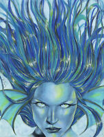 Fantasy Art Mermaid PRINT Sea Water Element Goddess Blue Hair Portrait