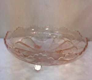 Vtg Depression Ware Pink Glass Buck Deer Stag Elk Holly Footed Serving Dish Bowl