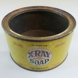Antique 1920s X-Ray Soap Tin Advertising Can Port Huron Michigan Litho-Printed