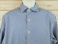 Polo Ralph Lauren Blue Striped Button Front Long Sleeve Shirt Mens Size XL EUC