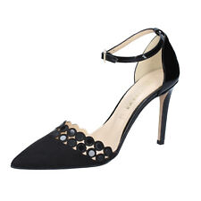 scarpe donna OLGA RUBINI 36 EU decolte nero camoscio vernice BY347-B