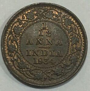 1934 British India KGV 1/12 Anna Coin