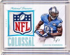 2015 NATIONAL TREASURES CALVIN JOHNSON COLOSSAL NFL LOGO 1/1