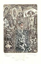 Ex Libris non Bookplate Free  Etching Marius Liugaila (1953-2013) - Lithuania