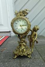 Antique Vintage New Haven Spelter Figural  Shelf Mantel Clock w/Cherubs