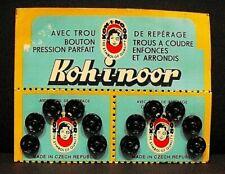 Vintage 75 Cards Koh-i-noor Snap Fasteners, Nº 1 and 2 - black