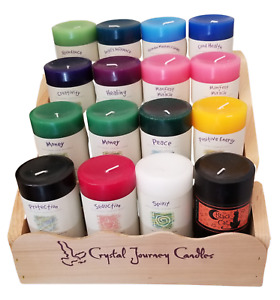 Crystal Journey Herbal Magic Reiki Charged 3x6 Pillar Candles Hand Poured in USA