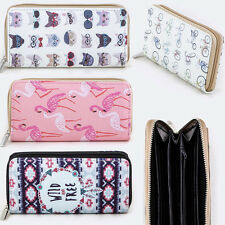 Women Zipper Around Long Wallet Clutch Card Coin Holder Faux Leather Banana