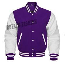 Varsity Letterman Baseball Purple wool and Genuine White Leather Sleeves Jacket