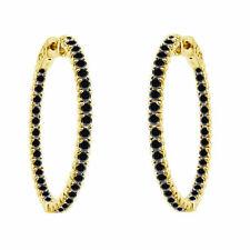 14K Yellow Gold Inside Out Enhanced Black Diamond Hoop Earrings 3.00 Carat