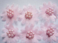 10 X PINK ORGANZA DAISY BEADED FLOWER EMBELLISHMENTS HEADBANDS HAIR BOWS CRAFTS