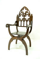 Gothic dantesca throne chair for Dolls 1/6 scale for Barbie, FR OOAK  v2