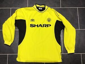 Mens Medium Manchester United 1999-2000 Goalkeeper Shirt Jersey Sharp Top Kit