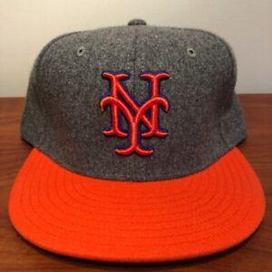 New York Mets Hat Baseball Cap Fitted 7 1/2 American Needle MLB Gray Orange NYM
