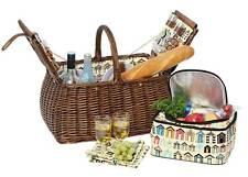 Avanti 4 Person Picnic Basket Light Brown Willow Wicker Cane Carry Basket