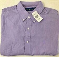 NWT POLO Ralph Lauren Mens Size 17 Fine Purple Check Shirt