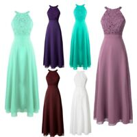 Women Lace Chiffon Evening Dress Prom Formal Halter Party Wedding Prom Ball Gown