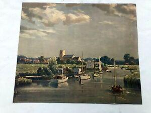 Vintage Leslie Kent Print / Picture - Sailing Boats on the River