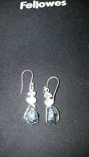 Shivam Made in India .925 Sterling Silver Raw Apatite  Earrings  - NEW