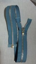 "VTG NOS Jacket Zipper 10x YKK JAPAN #8 Separating Metal Aluminum 24.5"" BLUE"
