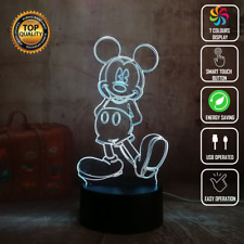 MICKEY MOUSE DISNEY 3D Acrylic LED 7 Colour Night Light Touch Table Lamp Gift