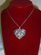 "Clogau Silver & Rose Gold Fairy Floral Peridot Heart Locket 18"" Chain RRP £280"