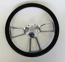 "Bronco F100 F250 F350 Torino Steering Wheel Black & Billet 14"" Ford Center Cap"