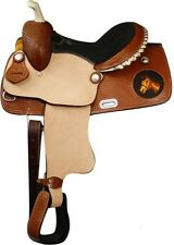 "13"" Youth Kids Leather Western Barrel Racing Trail Pony Show Saddle Laced Cantle"