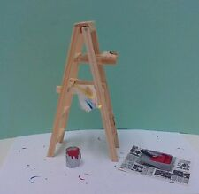 Dollhouse Miniature Ladder paint can brush roller & tray w/ drop cloth & rag