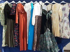 JOBLOT x 10 VINTAGE  DRESSES .TEA PARTY  PROM FANCY DRESS SHOP WEDDING #VB8