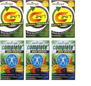 AIM GLOBAL Complete & C24/7 Phyto Energiser Vitamins Minerals Amino Acids 60 Cap