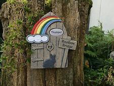 Personalised Pet Rabbit Memorial Stone Rainbow Bridge Door for Garden or Tree