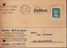 WESERMÜNDE-F., Postkarte 1927, Gebrüder Nösinger Seefisch-Großhandlung Fisch