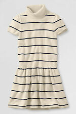 NEW Girls LANDS END Sweater Dress Skirt Shirt S Small 7/8 Cream White Stripes