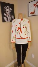 Super cute Cherry pin-up girl blazer by Chapter One SZ 8 white w/ double cherrie