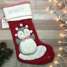 "NWT Pottery Barn Kids Quilted Stocking Juggling Penguin Red ""MOMMY"""