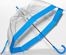 Elite See Through Clear Dome Bubble Umbrella With BLUE Trim & Handle