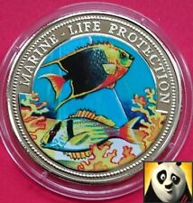 1997 GAMBIA 10 BUTUTS MARINE LIFE PROTECTION COLORED FAUNA AND FLORA COIN