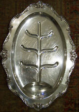 TURKEY OR HAM SIZED - HUGE ROCOCO SILVER MEAT CARVING & SERVING FOOTED TRAY