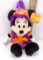 "Disney Parks Minnie Mouse Witch Halloween Plush Stuffed Purple orange 10"" NEW"