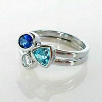 Cute 925 Silver Wedding Rings Women Ring Size 6-10 Aquamarine & Sapphire